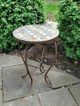 Table - metal with stone top in Orland Park, Illinois