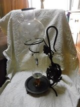 VINTAGE RED WINE AERATOR DECANTER WITH WROUGHT IRON STAND ETCHED GLASS NICE in Okinawa, Japan