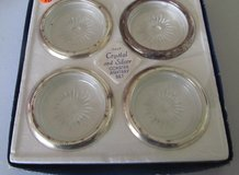 Vintage Leonard Crystal And Silver plated coasters in Yorkville, Illinois
