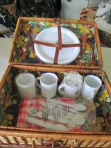 Wicker picnic basket with dishes/utensils/tablecloth in Joliet, Illinois
