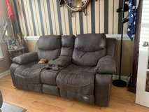 2 seater Couch w/ cup holders recliner/Brown in Camp Lejeune, North Carolina