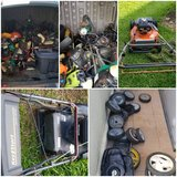 Shed full of mower/weed eater parts in Okinawa, Japan
