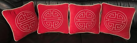 4 Red & Gold trimmed Asian Pillows in Okinawa, Japan