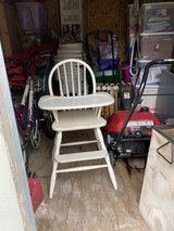 White wooden high chair in Westmont, Illinois
