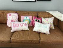 5 Girl throw pillows and owl wall art in Westmont, Illinois