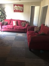 Red Couch and loveseat in Camp Lejeune, North Carolina