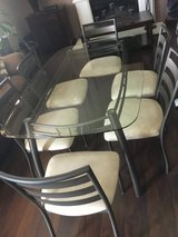 Glass/ metal kitchen table and 6 chairs in Joliet, Illinois