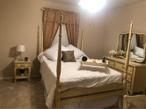Beautiful cream color girls poster bed, mattress, box springs, mirror dresser, chair vanity and ... in Houston, Texas