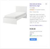 IKEA MALM White Bed frame, high in Travis AFB, California