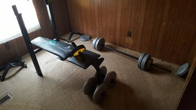 Weight bench, weights, and ab wheel in Fort Leonard Wood, Missouri
