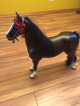 "VINTAGE LARGE TOY CIRCUS Horse Pony Hard Plastic 20"" Tall Vintage BLACK/ RED HEAD DRESS in Naperville, Illinois"