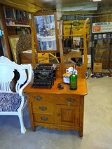 early antique dresser with mirror tiger oak in Cherry Point, North Carolina