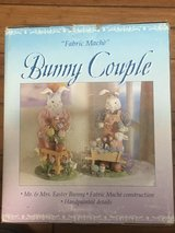 """Mr& Mrs Easter Bunny Colorful Handpainted Bunny Couple Fabric Mache` Boxed 12""""H in Camp Lejeune, North Carolina"""