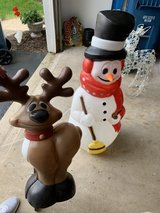 Vintage Plastic Blow Molds- Snowman and Reindeer in Chicago, Illinois
