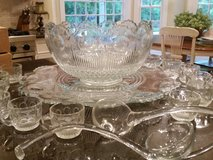 Beautiful Punch Bowl, Glass Ladles, 40 cups and Platter in Orland Park, Illinois