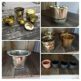Various gold pots/planters in St. Charles, Illinois