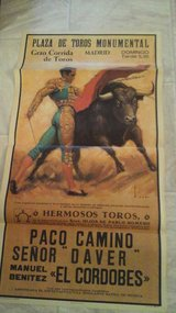 Vintage Large Bull Fighting Poster From Spain in Glendale Heights, Illinois