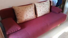 Red couch/ DBL bed. in Ramstein, Germany