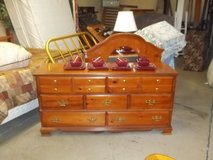 Seven Drawer Cherry Wood Dresser with Mirror in Fort Riley, Kansas