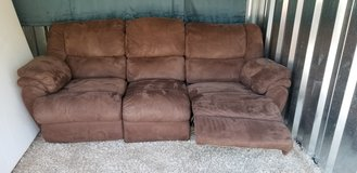 Tonight ONLY Brown Plush micro suede  Double recliner couch in Fort Campbell, Kentucky