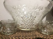 Vintage Glass Punch Bowl Set  Anchor Hocking Grape in Kingwood, Texas