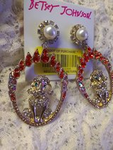 New Betsey Johnson pearl cz Poodle fire earrings jewelry in El Paso, Texas