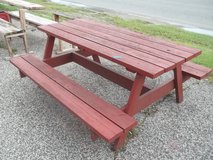 Red Wooden Picnic Table in Fort Riley, Kansas