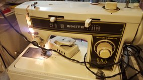 White portable sewing machine in Leesville, Louisiana