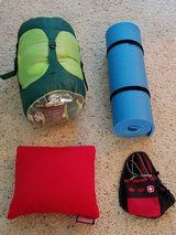 Youth sleeping bag, pillow, ISO Mat, and first aid kit. in Camp Lejeune, North Carolina