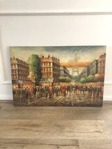 REDUCED - Large oil painting textured on canvas original piece- Day in Paris in Kingwood, Texas
