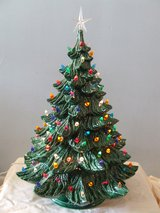 """Vintage Lighted Ceramic Christmas Tree 23"""" High by Nowell 1978 in Lockport, Illinois"""