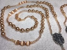 Lasso Wedding Rosary Peach Pearl and Cats Eye Beads Swarovski and Czech Crystal Accents Italian ... in Kingwood, Texas