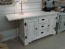 Drop-Leaf Buffet White with Black Metal Hardware #2185-84 in Camp Lejeune, North Carolina