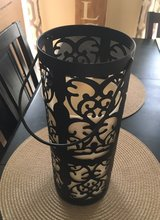 New tall black metal lantern, battery candle in Chicago, Illinois