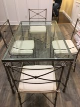 Pier 1 Glass/ Iron (Pewter) Table w/ chairs in Beaufort, South Carolina