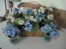 BASKET OF FLOWERS WITH 2 SMALL MATCHING VASES in Byron, Georgia