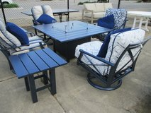 Metallic Blue Outdoor Fire-pit, Chairs and Side Tables in Westmont, Illinois