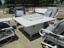 Whitewashed Outdoor Fire-pit Table, Chairs and Side Tables in Westmont, Illinois