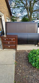 King bed and nightstand in New Lenox, Illinois