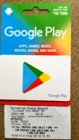 Google play gift card $500.00 value in Spring, Texas