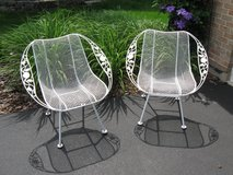 Vintage MidCentury Woodard Sculptura Chairs with Chantilly Rose Arms in Naperville, Illinois