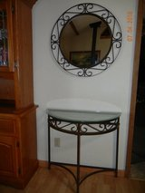 Wrought Iron Entry Table & Matching Mirror - Excellent Condition in Alamogordo, New Mexico
