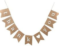 OZXCHIXU Jute Hessian Burlap thank you Banner Rustic Wedding Party Bunting in Naperville, Illinois