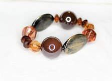 NEW Antiqued Silver Tone Red Orange Amber Stone Bead Chunky Stretch Bracelet Bead in Kingwood, Texas
