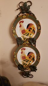 Grapevine Plate Holder Wall Rack & 2  Rooster Plates in Lockport, Illinois