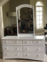 Long white dresser w mirror in Westmont, Illinois