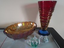 4 PIECE ART GLASS SET Vintage Young & Constantin Vase Signed Numbered in Westmont, Illinois
