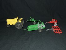 Vintage Tru-Toy Die Cast Yellow Farm Tractor / Red & Green Implements Tru Toy in Naperville, Illinois