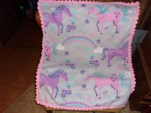 Unicorns and Rainbows Baby Fleece Blanket with crocheted edging in Belleville, Illinois