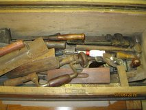 VERY LARGE ANTQ WOODEN TOOL BOX WITH 39 TOOLS. in Bartlett, Illinois